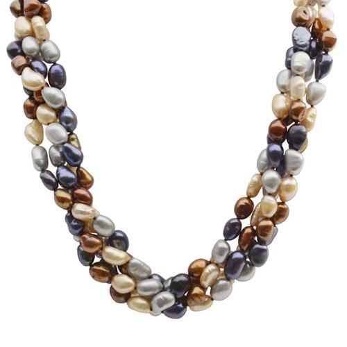 PearLustre by Imperial Pearls For You Sterling Silver Dyed Chocolate, Black, Grey and Champagne Baroque Freshwater Pearl 4-Strand Necklace (7-8 mm)