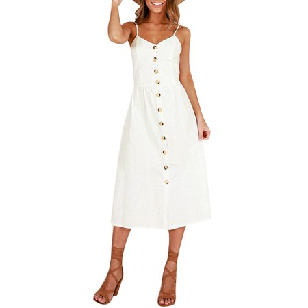 DYMADE Womens Sling Button Halter Summer Dress One-Piece Holiday