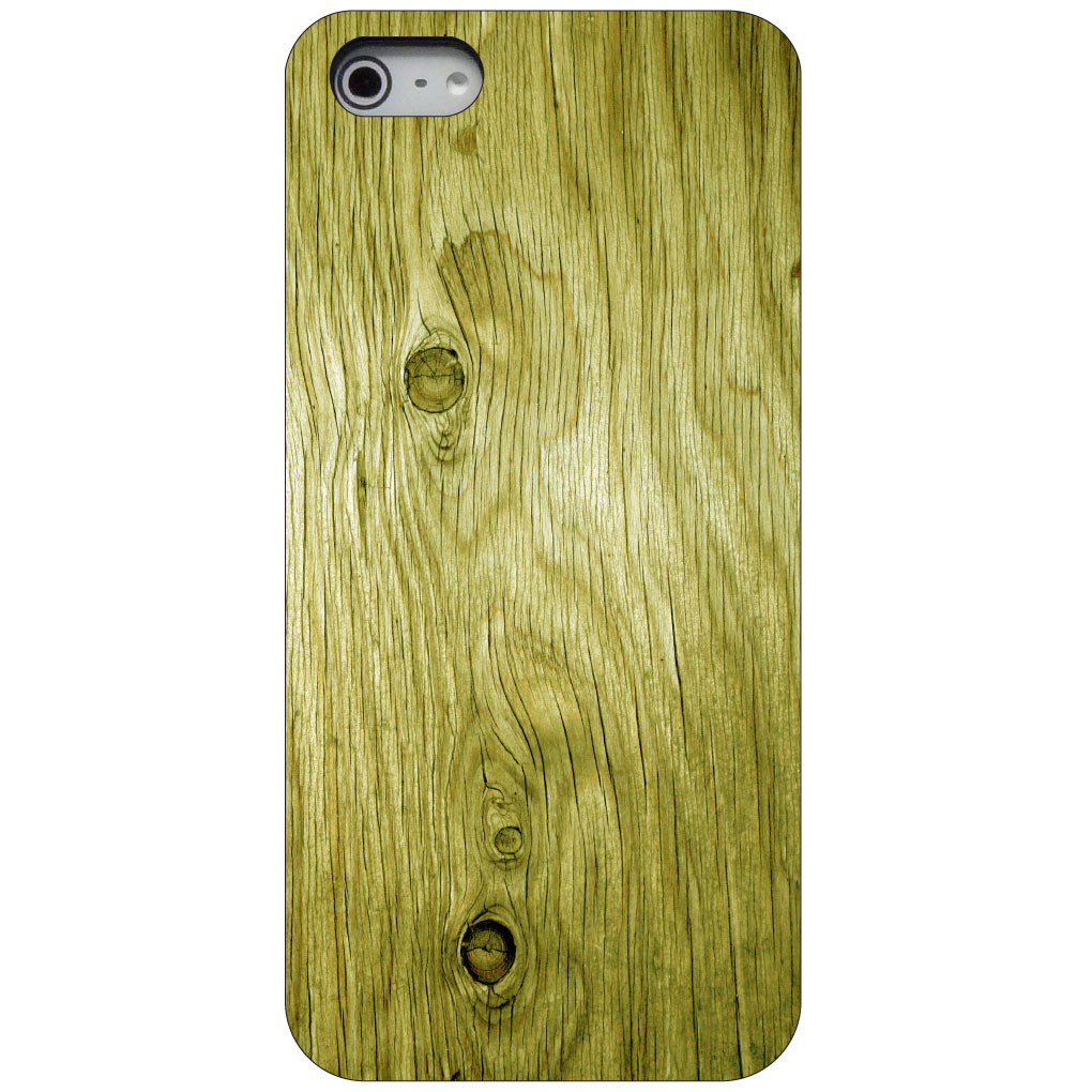 CUSTOM Black Hard Plastic Snap-On Case for Apple iPhone 5 / 5S / SE - Yellow Weathered Wood Grain
