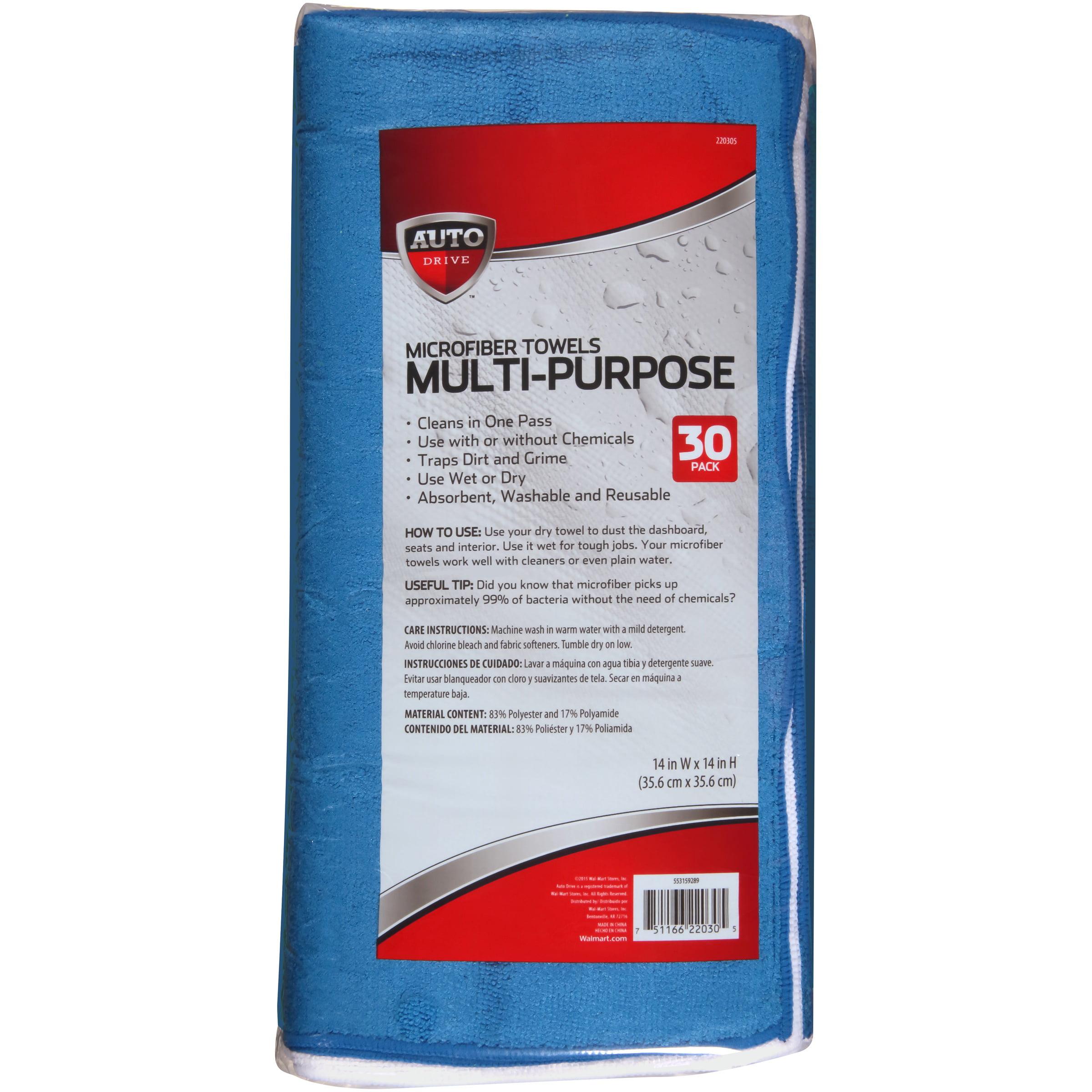 Auto Drive Multi-Purpose Microfiber Towels 30 ct Bag - Walmart.com