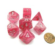 Chessex Polyhedral 7-Die Ghostly Glow Dice Set - Pink with Silver Numbers #27524