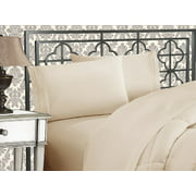 Elegant Comfort®  Silky-Soft 1800 Series  - Wrinkle-Free 4-Piece Bed Sheet Set, Deep Pocket up to 16 inch, Queen Cream/Tan