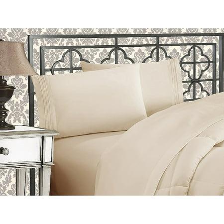 CLEARANCE Super Soft 1500 TC Sheet set , California King, Cream/Tan Tan Flannel Sheet Set