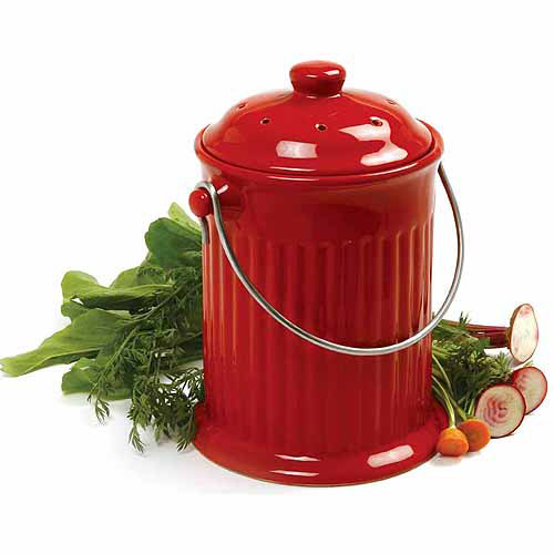 Norpro 1 gal Red Ceramic Compost Keeper Crock