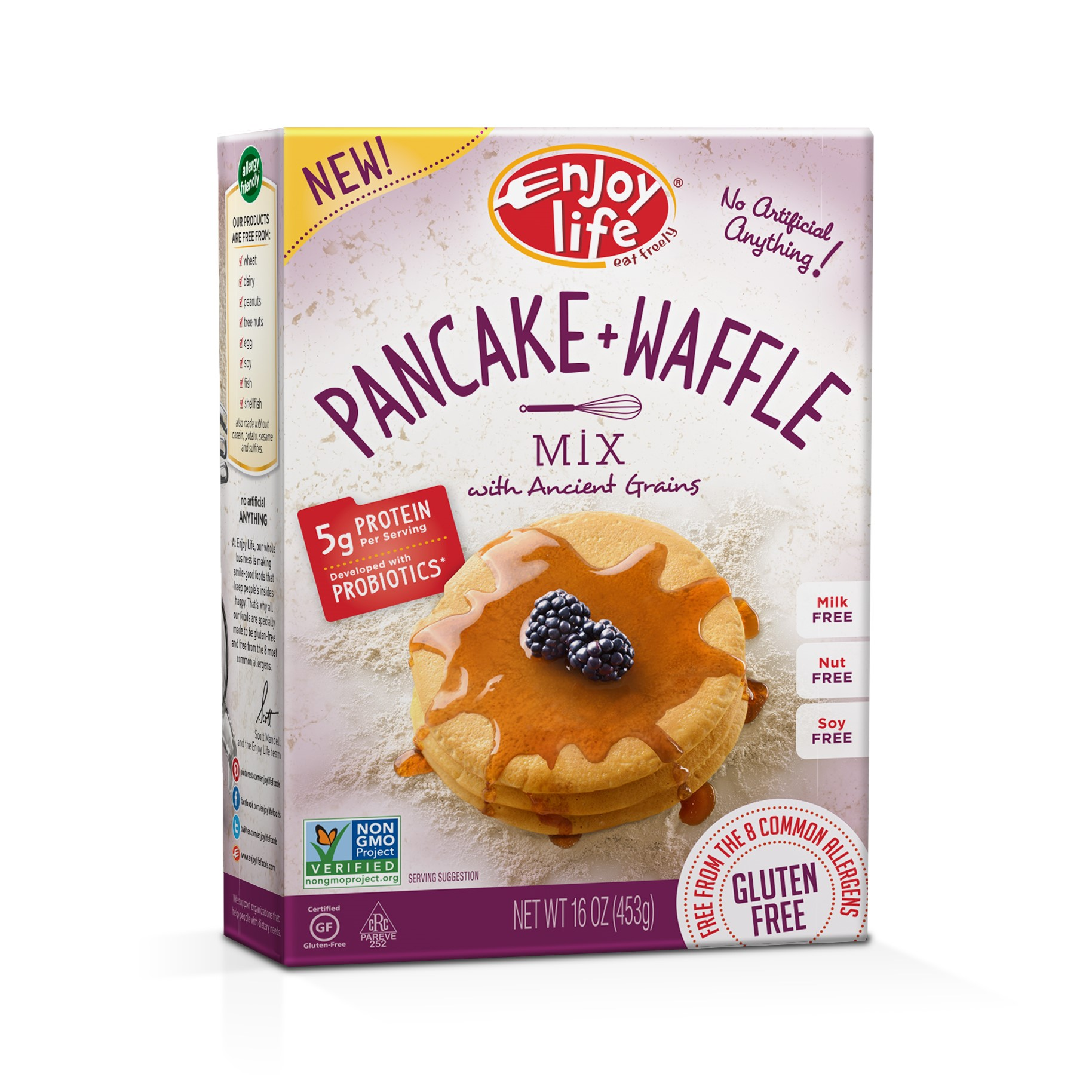 Enjoy Life Foods Gluten Free, Allergy Friendly Pancake + Waffle Mix, 16 oz, 1 ct