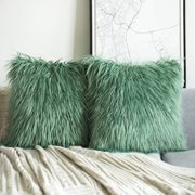 "Phantoscope Merino Style Faux Fur Series Decorative Throw Pillow, 18"" x 18"", Green, 2 Pack"