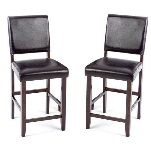 """8407 Kitchen Bar: Imagio Home Loft Faux Leather Counter Stools 24"""", Set Of 2"""