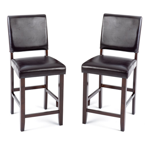 "Imagio Home Loft Faux Leather Counter Stools 24"", Set of 2, Chocolate"
