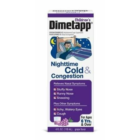 Childrens Cough - Children's Dimetapp® Nighttime Cold & Congestion Antihistamine/Cough Suppressant & Decongestant Liquid 4 fl. oz. Box