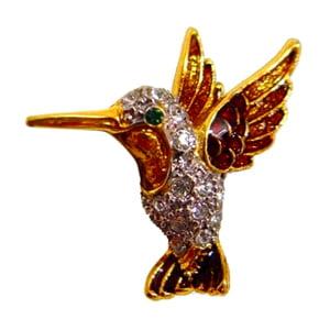 Platinum-Plated Swarovski Crystal Enamel Hummingbird Pin  Brooch (1 2 x 1) Gift Boxed by