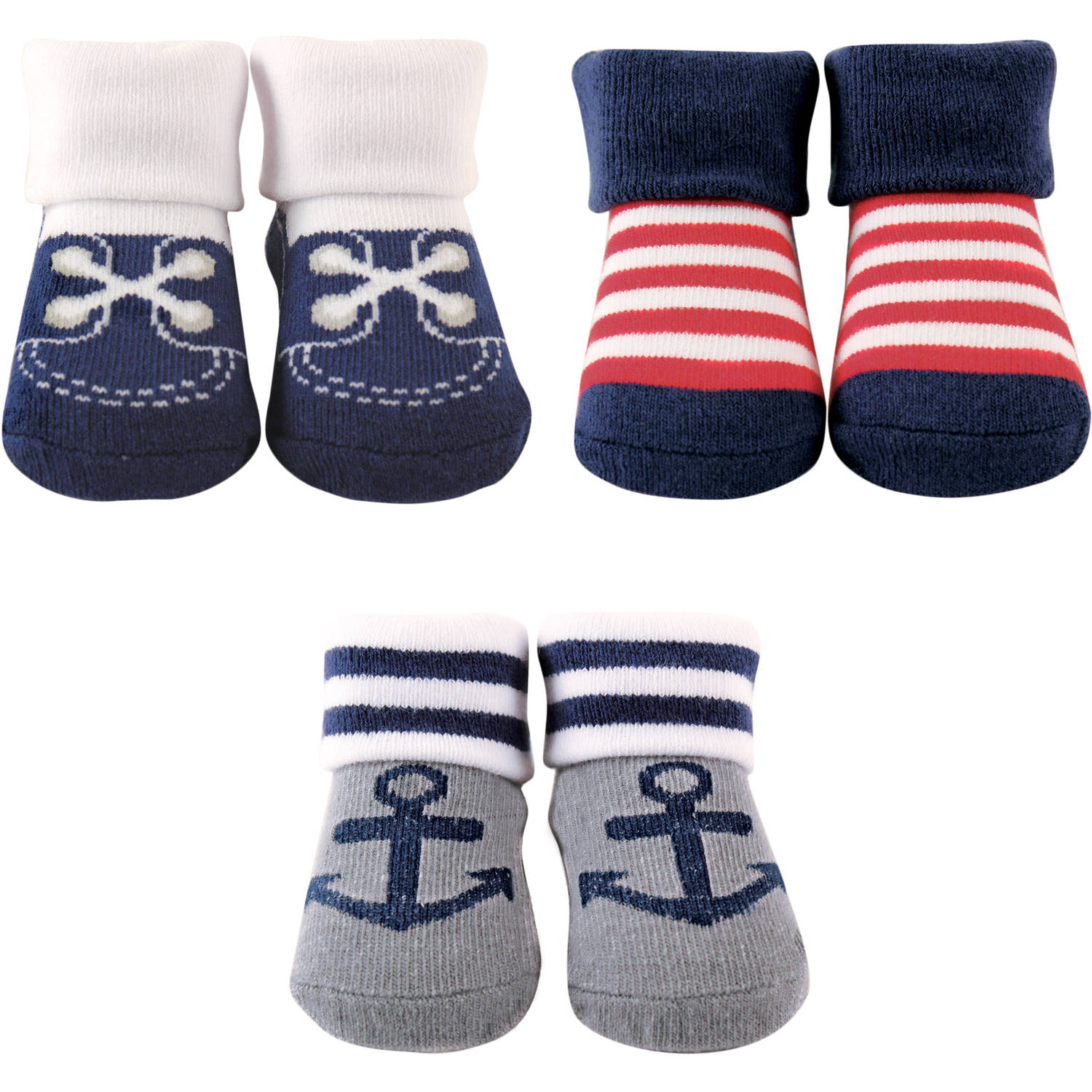 Luvable Friends Newborn Baby Boy Socks Giftset 3-Piece
