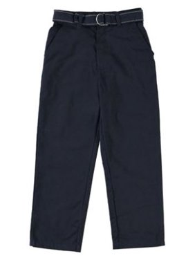 Eddie Bauer Boys School Uniform Flat Front Brushed Twill Straight Leg Pant with Web Belt (Little Boys & Big Boys)