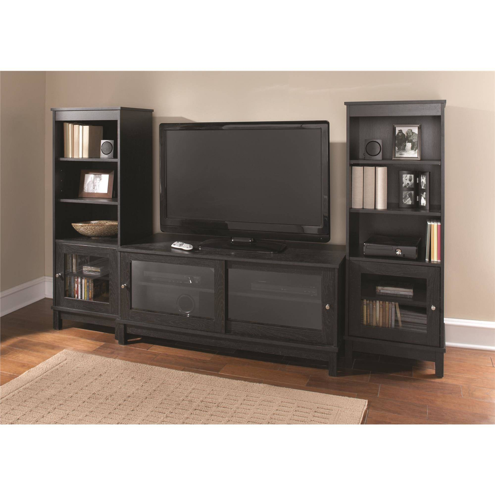"Black Entertainment Center Wall Unit mainstays entertainment center bundle for tvs up to 55"", multiple"