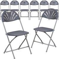 Flash Furniture 8 Pk. HERCULES Series 800 lb. Capacity Black Plastic Fan Back Folding Chair