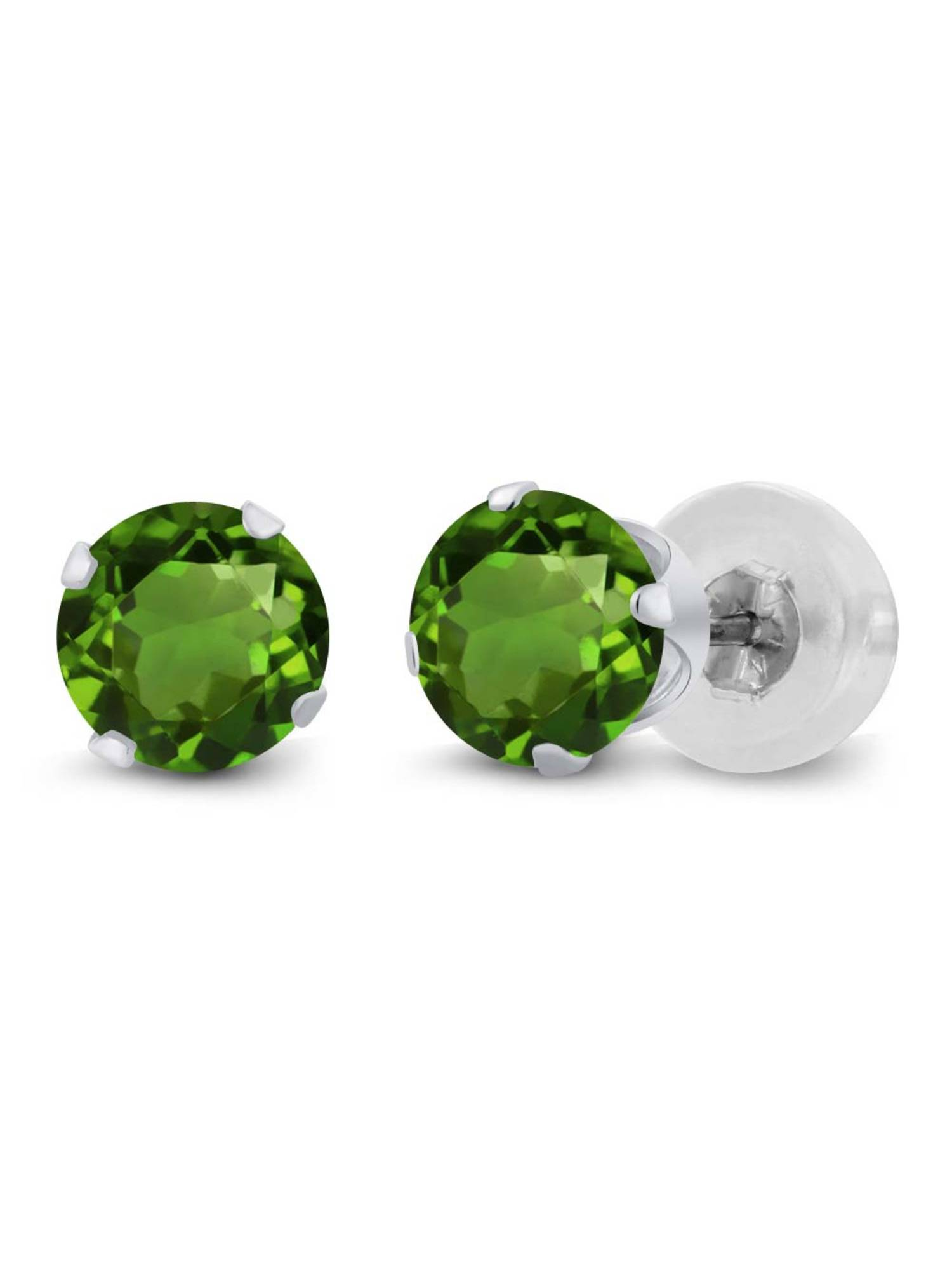 1.00 Ct Round 5mm Green Chrome Diopside 14K Yellow Gold Stud Earrings