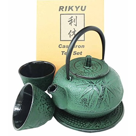 - Japanese Evergreen Bamboo Forest Green Traditional Heavy Cast Iron Tea Pot Set With Trivet and Cups Set Serves 2 Beautifully Packaged in Teapot Gift Box Home Decor Asian Living Gift Housewarming