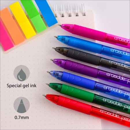 ParKoo Retractable Erasable Gel Pens Clicker Fine Point Assorted Color Inks for