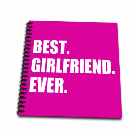 3dRose Best Girlfriend Ever text on hot pink anniversary valentines day gift - Mini Notepad, 4 by