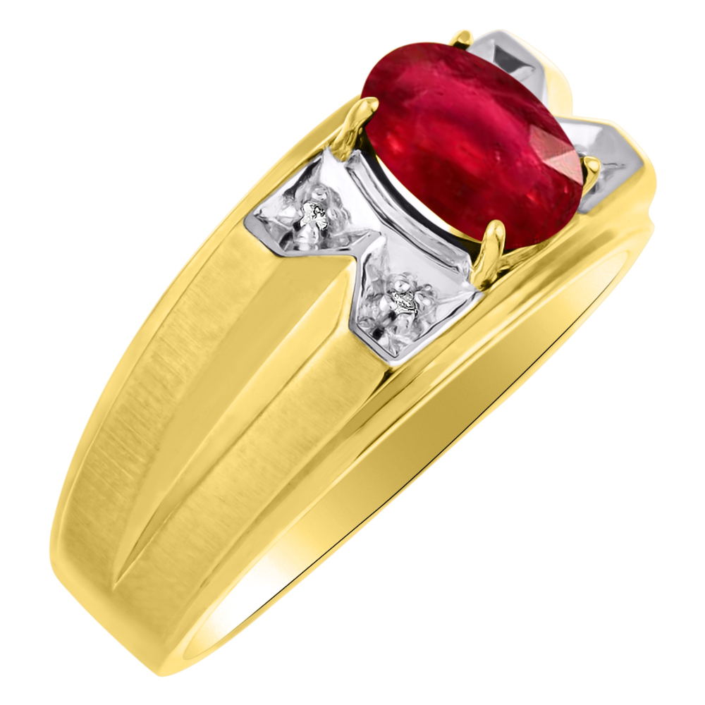 Mens Ruby & Diamond Ring 14K Yellow Gold Band by Elie Int.