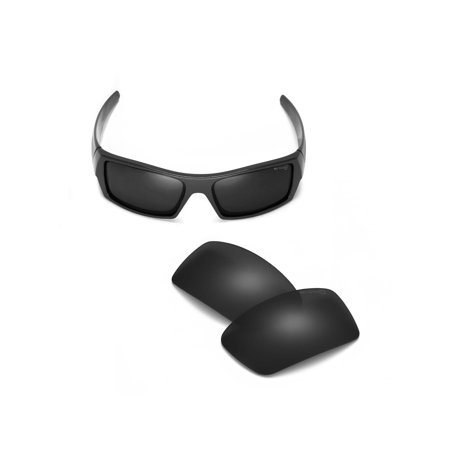 Walleva Black Mr. Shield Polarized Replacement Lenses for Oakley Gascan (Gascan Style Sunglasses)