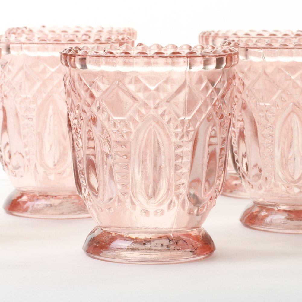 Koyal Wholesale Blush Pink Vintage Glass Candle Holder (Pack of 6 ...