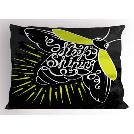 Firefly Pillow Sham, Beetle with Keep Shining Calligraphy on the Wings Motivation Art, Decorative Standard Size Printed Pillowcase, 26 X 20 Inches, Yellow Green Dark Blue Grey, by - Firefly Wings