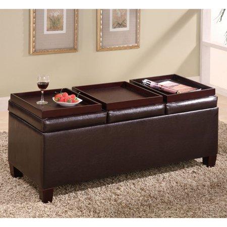 Surprising Coaster Leatherette Storage Ottoman Dark Brown Onthecornerstone Fun Painted Chair Ideas Images Onthecornerstoneorg