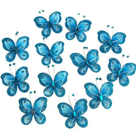Flower Butterfly Glitter (organza nylon glitter butterflies, 2-inch, 12-piece, turquoise )