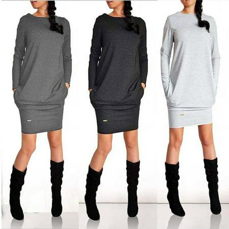 Womens Winter Sweatshirt Dress Ladies Hoodie Pullover Jumper Pockets Sweater Top