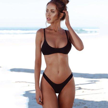 Juniors' Swimsuit Celebrity Brazilian Padded Black High Legs Bikini (Black,Small)