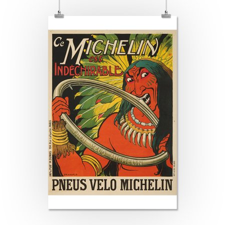 Michelin est Indechirable Vintage Poster (artist: Fraikin) France c. 1908 (16x24 Giclee Gallery Print, Wall Decor Travel