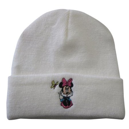 Girls White Minnie Mouse Butterfly Applique Folded Edge Beanie Hat