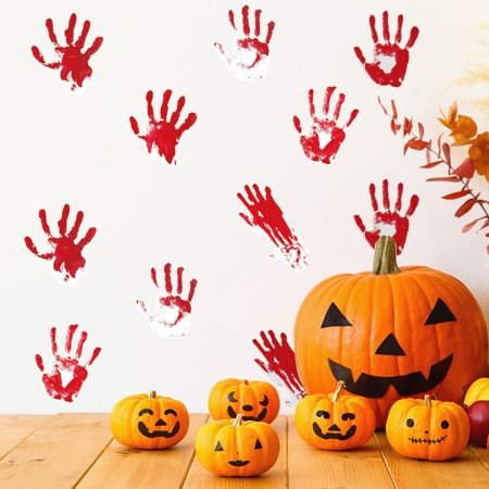 Frightening Halloween Quotes (Mosunx Halloween Red Handprints Removable Wall Stickers Quote Art DIY Decal Mural)