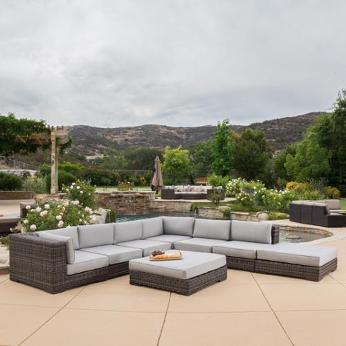 christopher knight home glenoaks 8piece outdoor wicker sectional with sunbrella cushions by