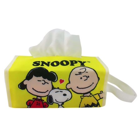Snoopy Lucy And Charlie Brown Yellow Canvas Tissue Box