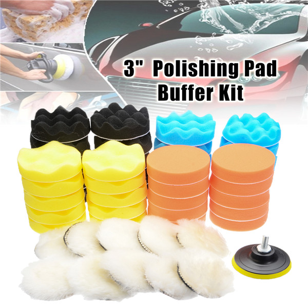 """50Pcs 3"""" Inch Buffing Polishing Sponge Pad Buffer Kit For Electric Car Auto Polishers With Drill Adapter"""