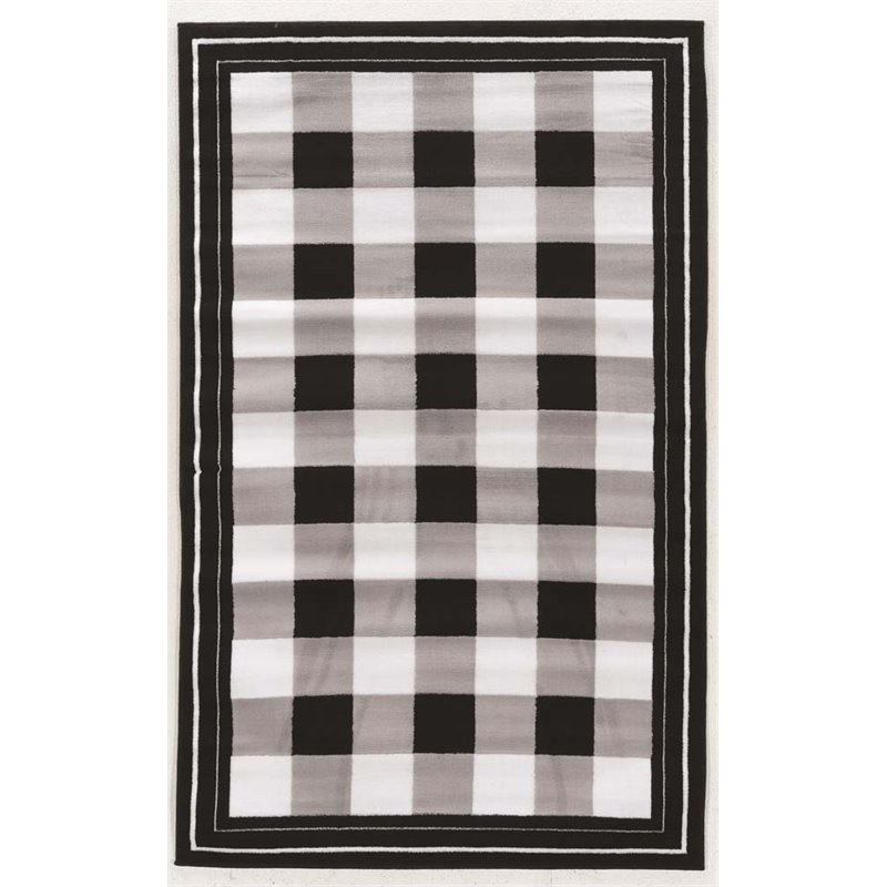 Linon Capri 4 3 Quot X 7 3 Quot Buffalo Check Rug In Black