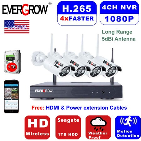4 Channel Wireless System (Advanced H265+ Technology 1080p wireless security camera system outdoor HD 4 channel WiFi 1TB Hard Drive outdoor/indoor home security camera system (CAM-WIFI-4CH-2MP) )