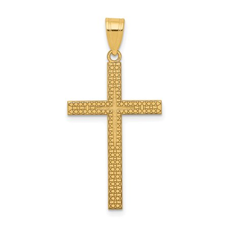 14k Yellow Gold Latin Cross Religious Pendant Charm Necklace