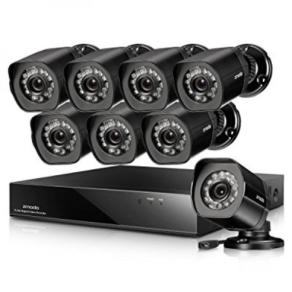 Zmodo 8CH Full 1080p CCTV Security Camera System with (8) Surveillance Cameras 8 Channel NVR Remote Monitoring (No Hard Drive Included)