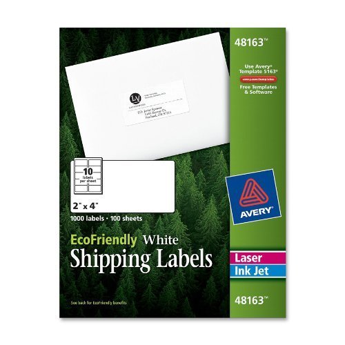 "Avery Mailing Label - 2"" Width X 4"" Length - 1000 / Box - Rectangle - 10/sheet - Paper - Laser, Inkjet - White (48163)"