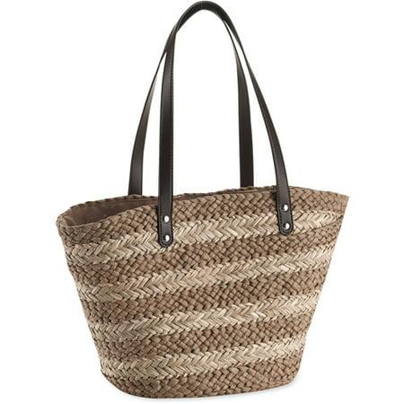 9041dce639 ONLINE - Women's Striped Straw Tote Bag - Walmart.com