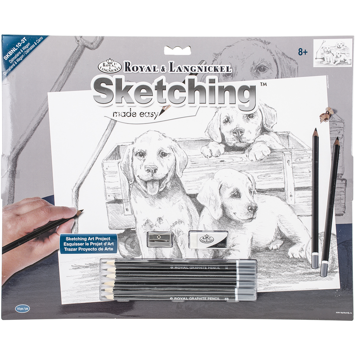 Royal Brush 16-Inch by 12.75-Inch Sketching Made Easy, Large, Puppies and Wagon Multi-Colored
