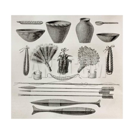 - Old Illustration Of Natives Antis Pottery, Weapons And Ornaments, Peru Print Wall Art By marzolino