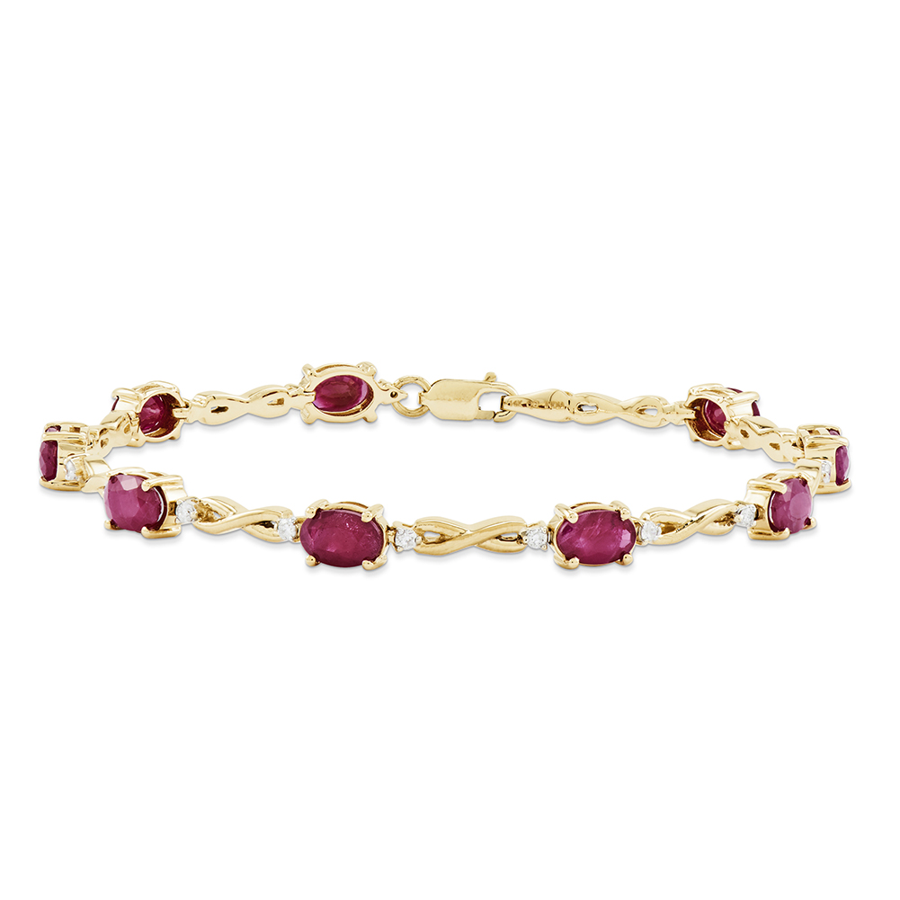 14k Yellow Gold Diamond and Ruby Bracelet Y11058R A by