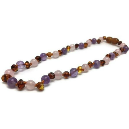 Rainbow Aura Quartz - 11 12.5 inch or 14 Baltic Amber Teething Necklace Rainbow Cognac Amber Pink Rose Quartz Amethyst Baby, Infant, Toddler