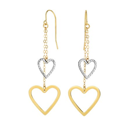 14K Yellow & White Gold Diamond Cut Open Heart Double Strand Drop Earrings with Euro Wire