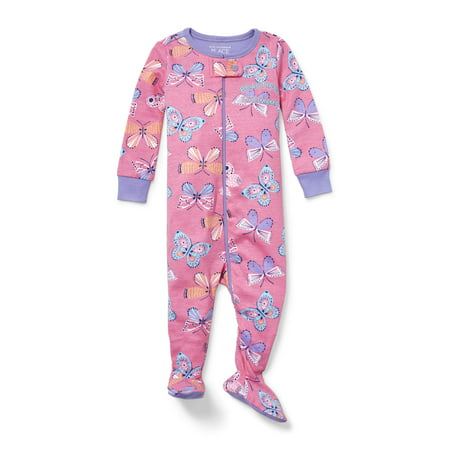 Baby And Toddler Girls Long Sleeve 'Beautiful Like Mama' Butterfly Snug-Fit Footed Stretchie (Baby and Toddler Girls)](Beautiful Girls Clothing)