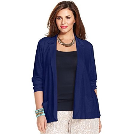 Charter Club Linen Open Front Blazer  Intrepid Blue  2X
