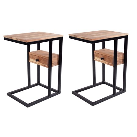 Decoriny Kriger Sofa Side End Table C Table With Drawer in Acacia Wood for Study,Coffee,Tablet,Set of 2, Birchwood ()